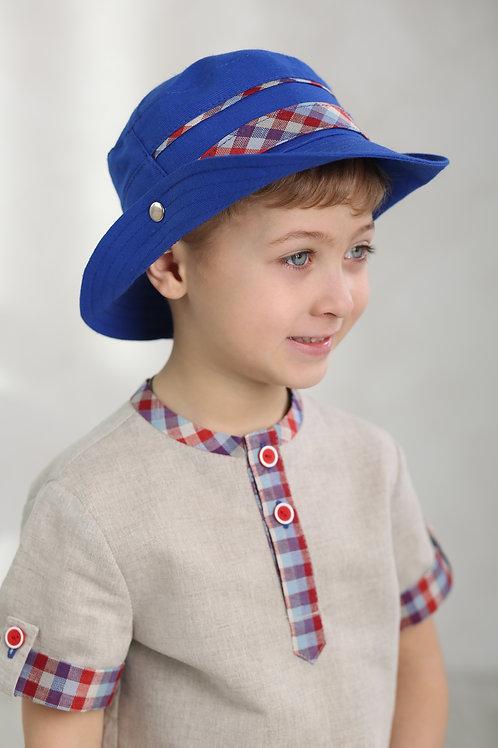 """Шляпа """"Вело"""" ГУ17-17 василек+клетка"""
