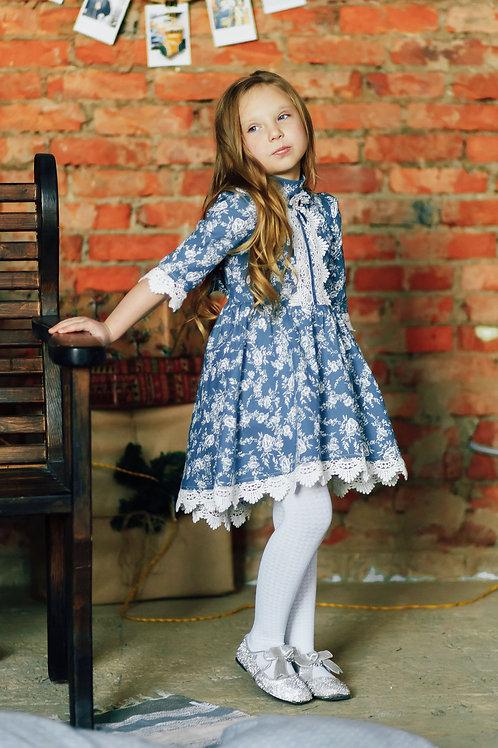 Платье  МТ-422 джинс цветы