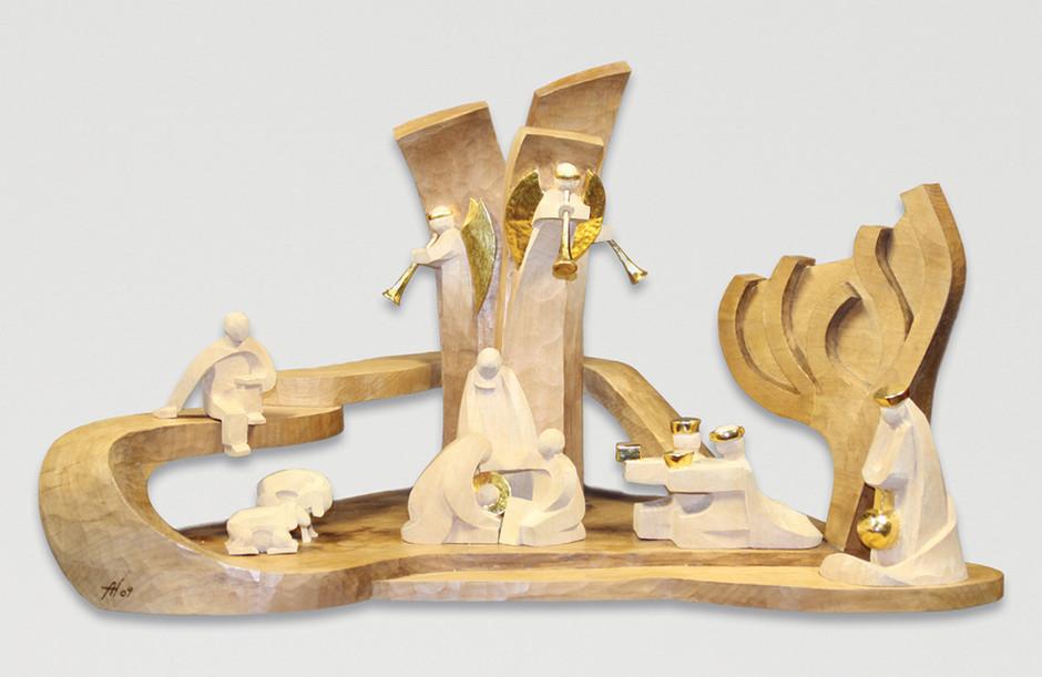 Lindenholz – Beize, polimentvergoldet 35 x 62 cm
