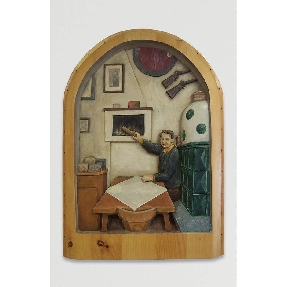 Zirbenholz – Acrylfarbe 52 x 38 cm