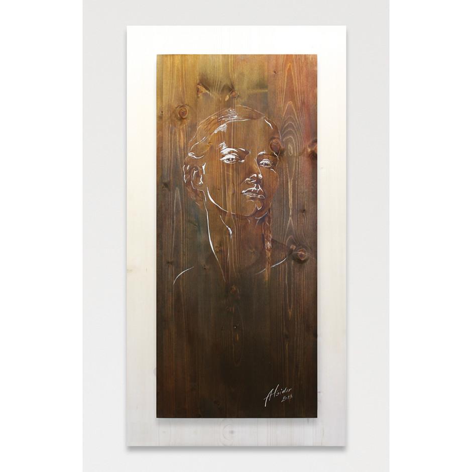 Acrylmalerei – Beize – Fichtenholz 136 x 74 cm