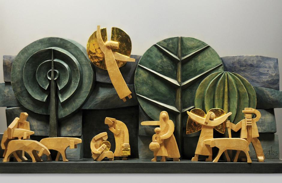 Lindenholz – Aquarellfarbe, polimentvergoldet 45 x 90 cm