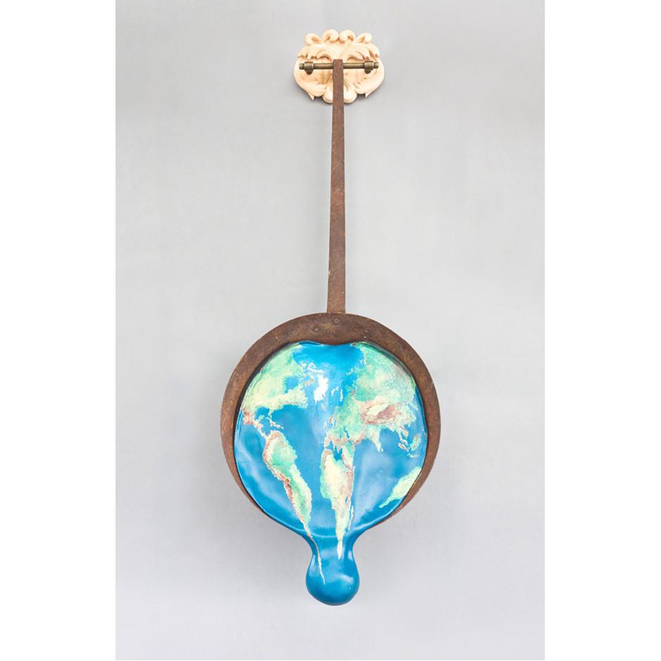 Lindenholz – Metall – Acrylfarbe 90 x 35 cm