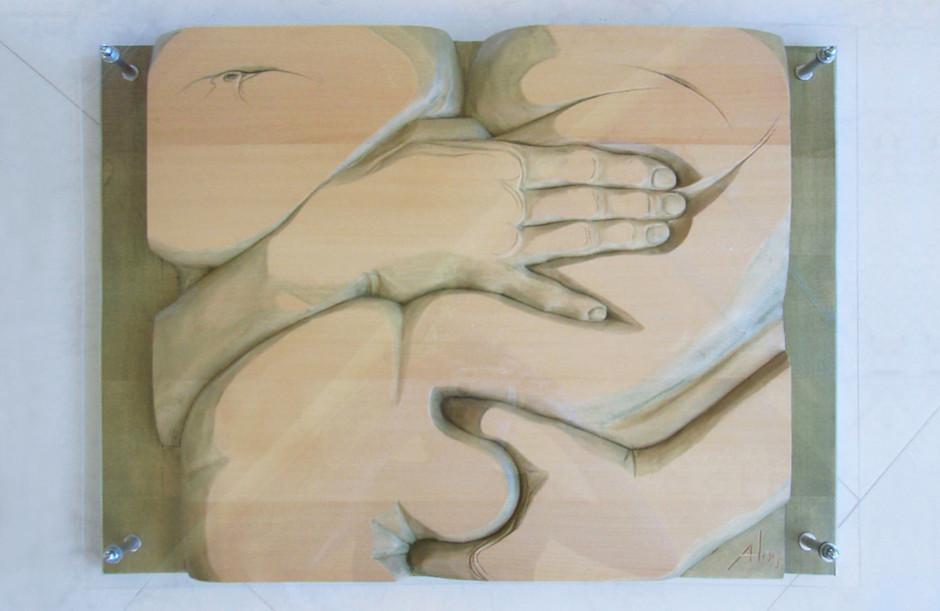 Lindenholz – Aquarellfarbe – Plexiglas 60 x 45 cm
