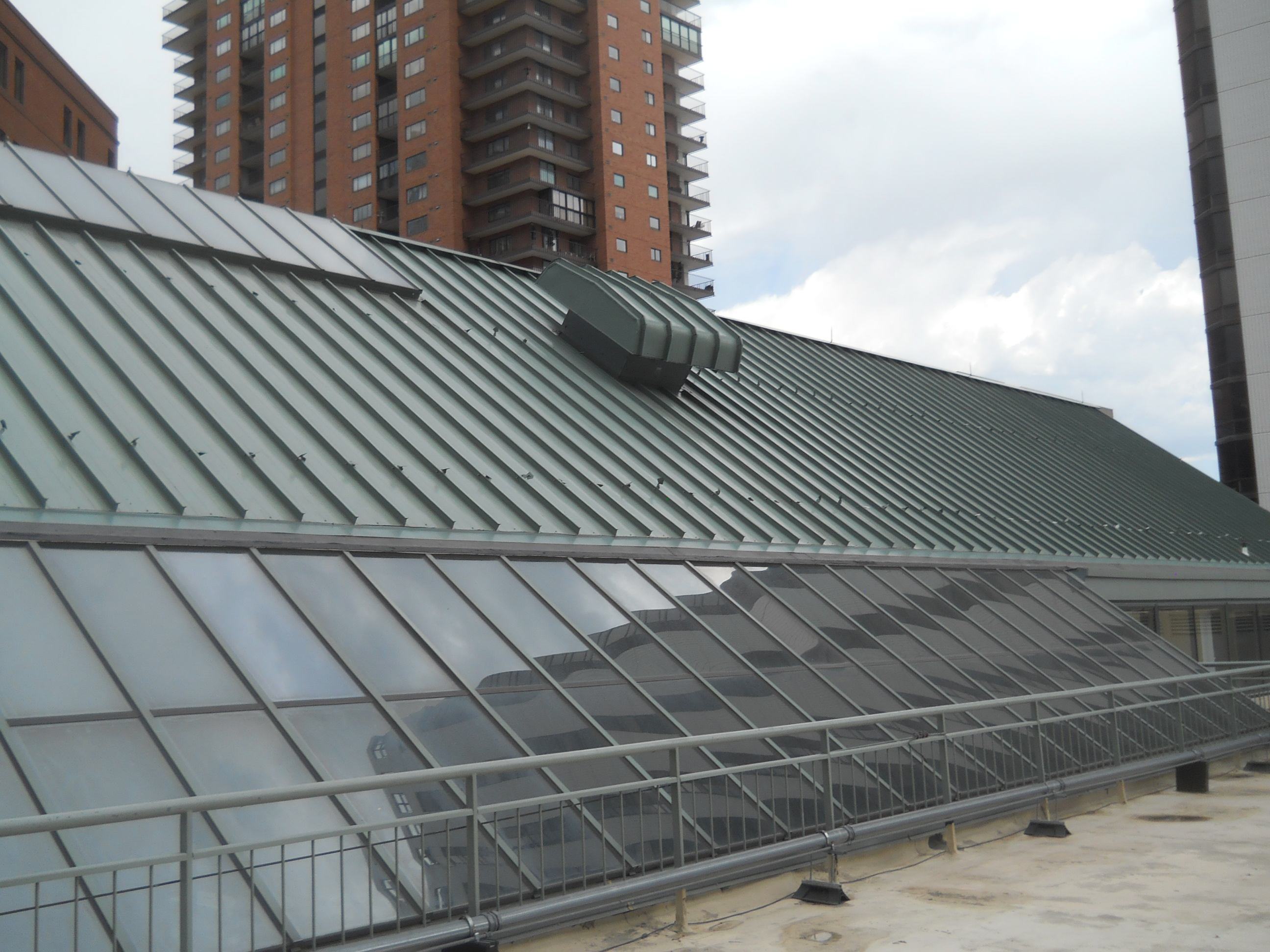 Ridge skylight and HVAC equipment on unprotected roof