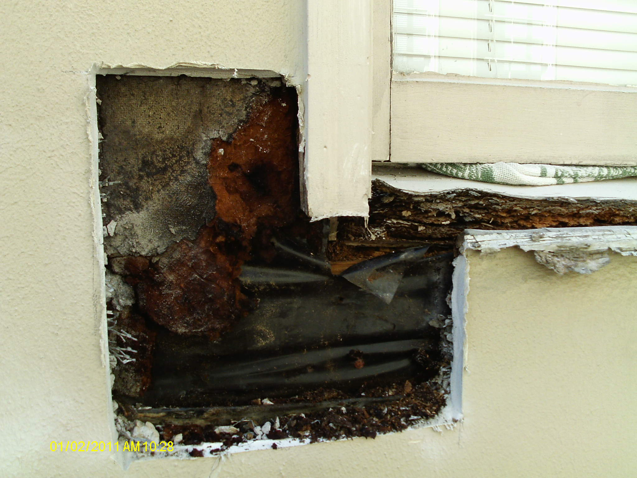 Deteriorated stucco resulting in substrate damage