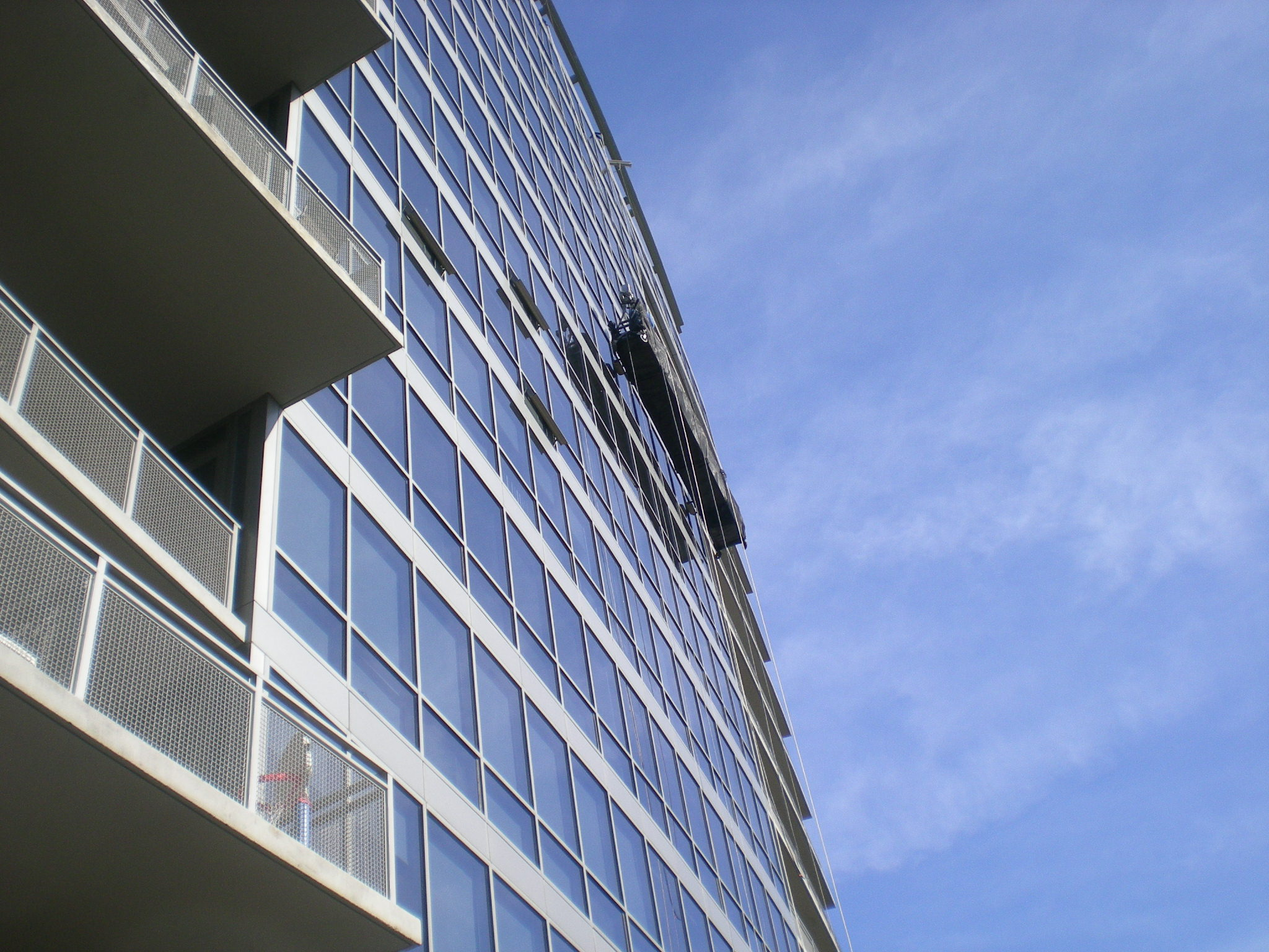 One of several swing-stage drops done on the building facade