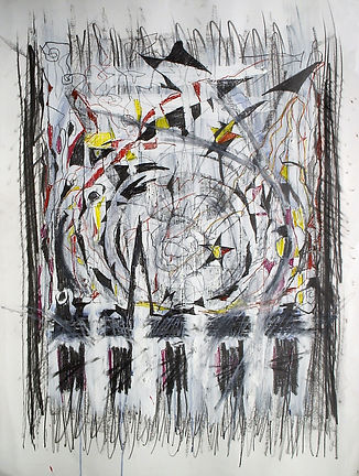 """In Search of Norman Lewis,2014, mixed media drawing on paper, 44""""x36"""" art"""