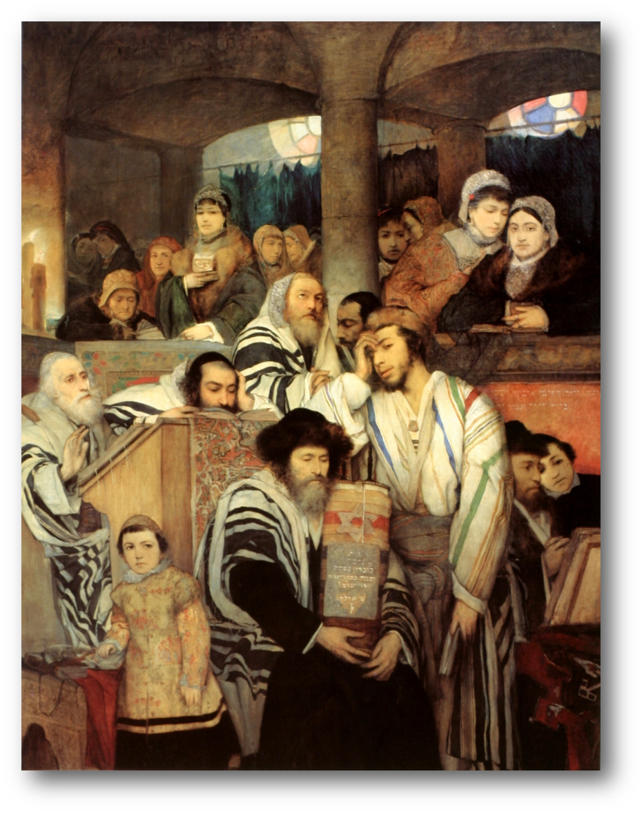 Jews Praying in the Synagogue