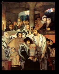Jews Praying in the Synagogue
