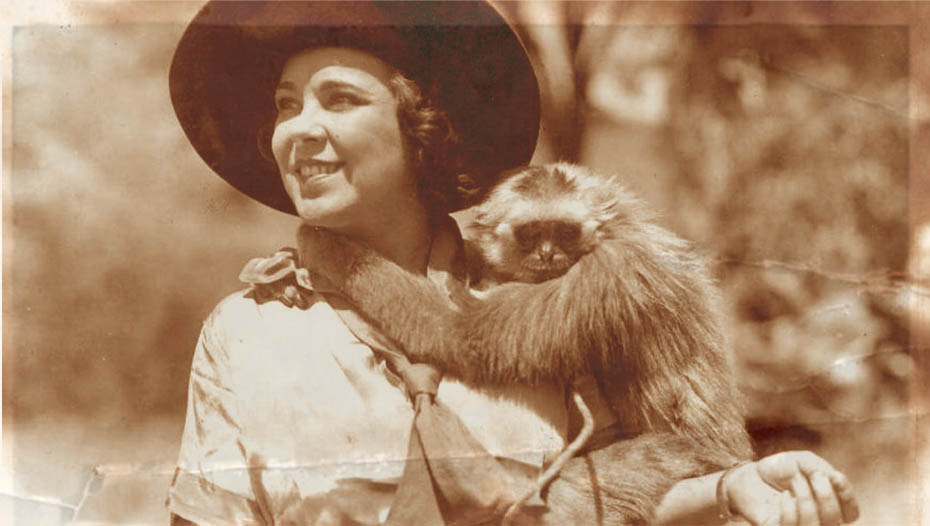 Elizabeth with monkey