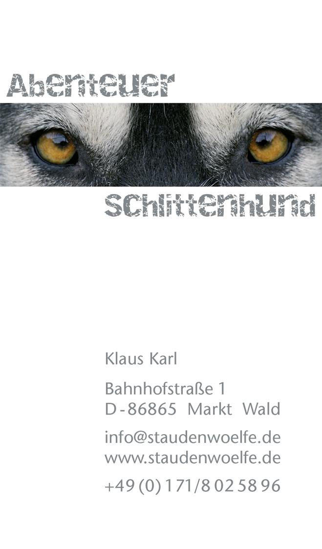 Schlittenhunde Visitenkarte