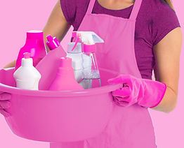 A woman wearing gloves holds a bucket of cleaning supplies. Residentail cleaning includes housekeeping, high-level dusting, maintenance cleaning, deep cleaning, and more.
