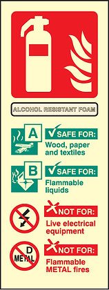 Alcohol Resistant Foam fire extinguisher identification