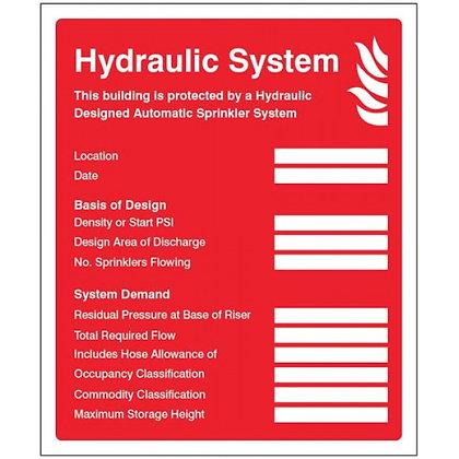 Hydraulic sprinkler system ID plate