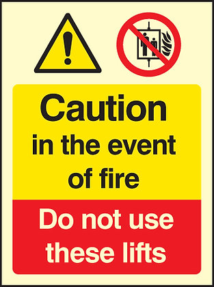 copy of Caution in the event of a fire - do not use these lifts