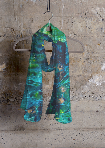 Olivia's LIV label with her Peacock scarf