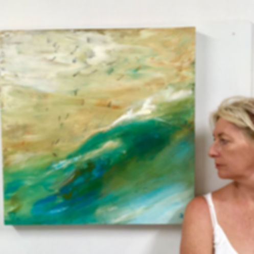 Artist, Olivia Alexander with her Storm Birds painting.