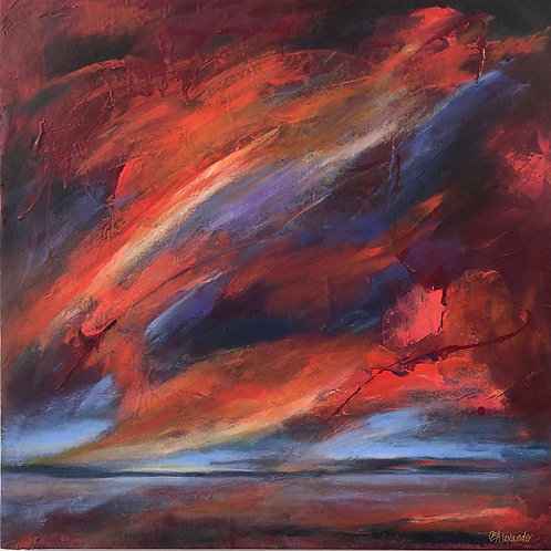Ocean Drenched in Crimson Light