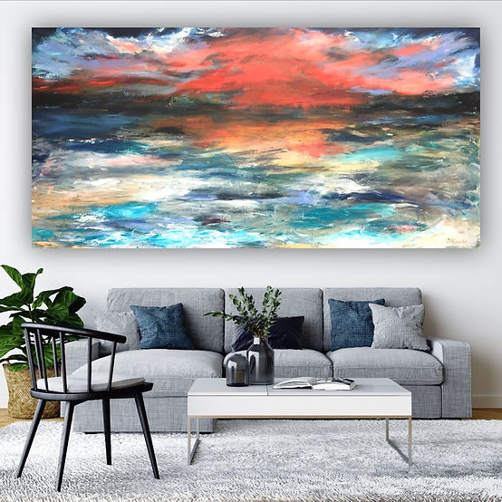 When Heaven and Earth Colide is a large ocean sunset painting by Australian artist, Olivia Alexander