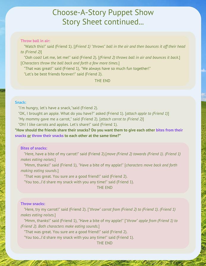 Choose A Story Puppet Show Story Sheet 2