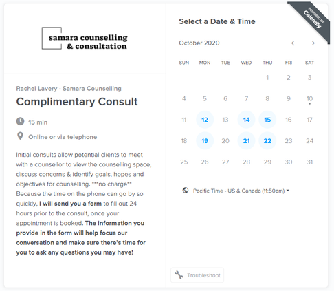 Consult booking main page