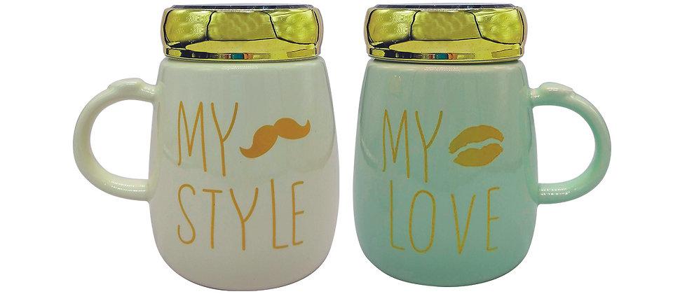 """Juego de 2 Tazas """"My Love, My Style 2"""" con tapa espejo."""