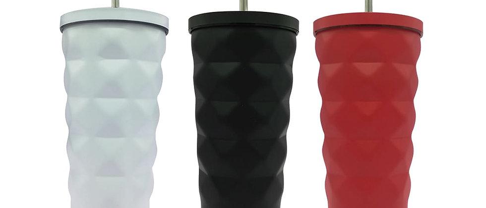 Paquete de 3 Vasos Mate con diseño de rombos.