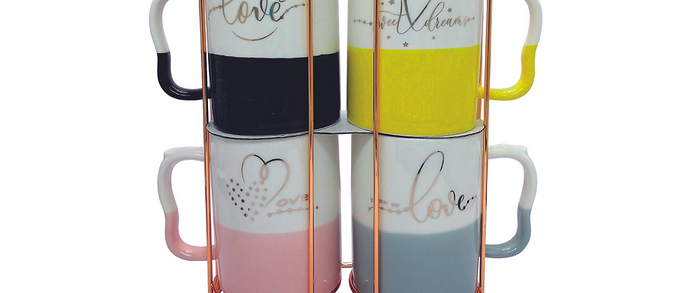 """Juego de 4 Tazas de colores """"Love""""."""