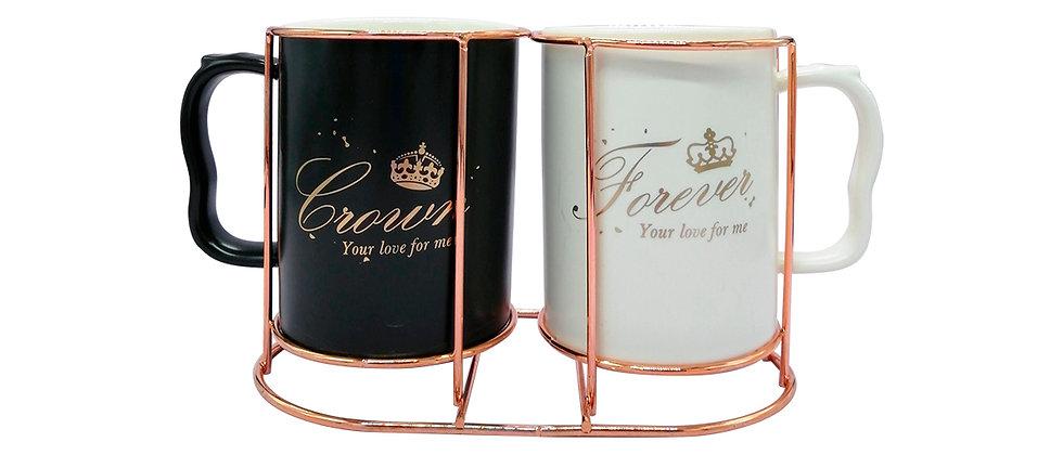 "Juego de 2 Tazas ""Crown & Forever""."