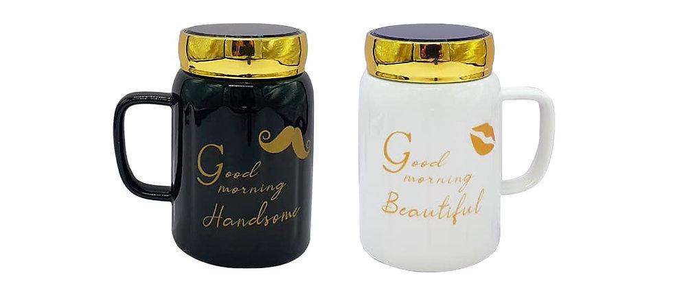 """Paquete de 2 Tazas """"Good morning"""" con tapa de espejo."""