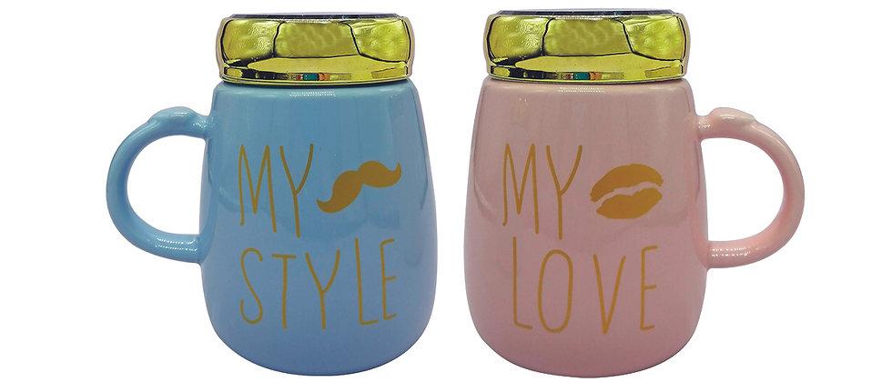 """Juego de 2 Tazas """"My Love, My Style 1"""" con tapa espejo."""