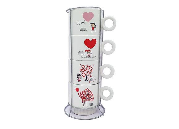 """Juego de Tazas para Cafe """"Love 1""""."""