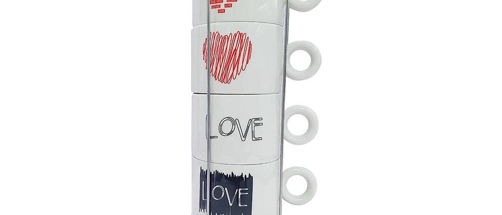 """Juego de Tazas para Café """"Love 2""""."""