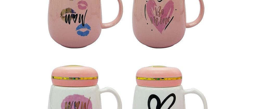 """Paquete de 4 Tazas """"Amor""""con tapa rosa."""