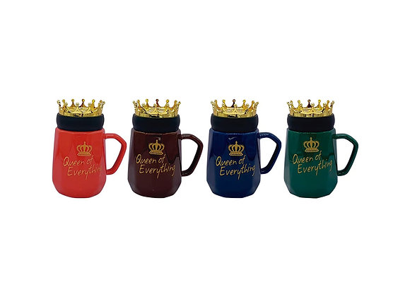 "Paquete de 4 Tazas ""Queen of everything""con tapa de corona."