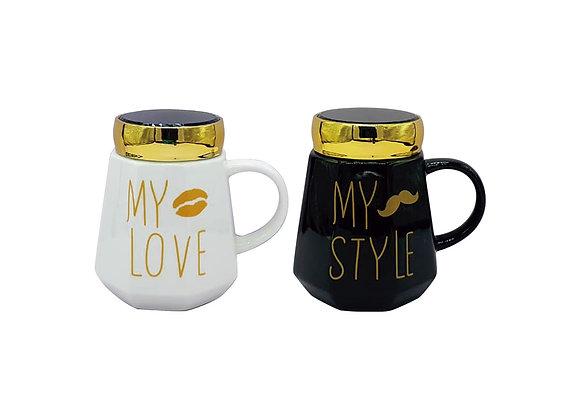 """Paquete de 2 Tazas """"My love, My Style"""" con tapa de espejo."""