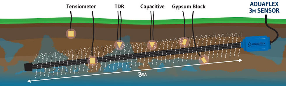 Onfarm Data's design of their 3M long Aquaflex shown underground with Tensiometer, TDR, Capacitive and Gypsum Block