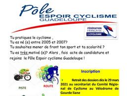 RECRUTEMENT : Pôle espoir Cyclisme Guadeloupe (2021-2022)
