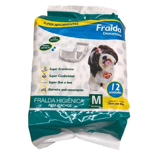 Fralda Higiênica Hard Pet Cães Machos 12 Unidades Tamanho M
