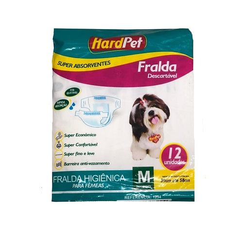 Fralda Higiênica Hard Pet Cães Fêmeas 12 Unidades Tamanho M