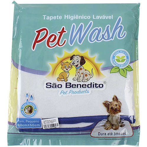Tapete Higiênico Pet Wash São Benedito Pet Lavável Azul P