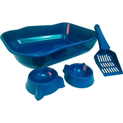 Kit de Bandeja Durapets Single Azul; Vermelho; Rosa para Gatos