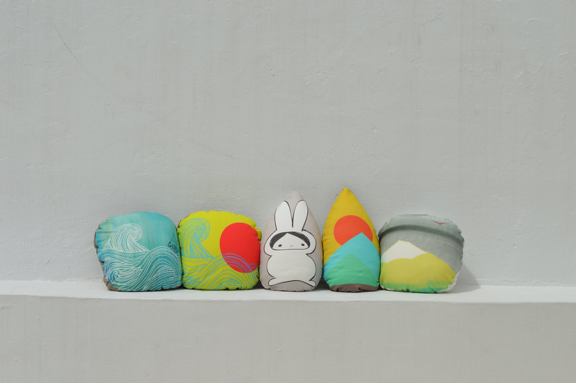 waves pillow, bunny pillow, 70's pillow, mountain pillow
