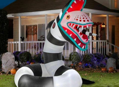 Home Depot | 9.5 ft. Pre-Lit Beetlejuice Sandworm Animated Airblown Inflatable