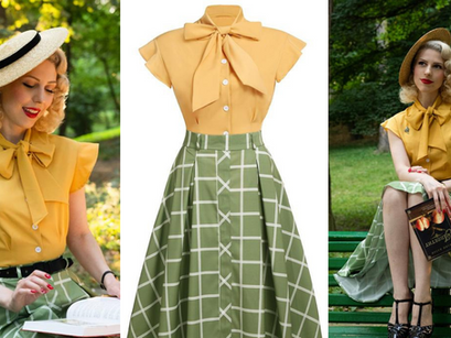 Retro Stage | Bow Plaid Blouse and Skirt, 2pc 1950's Inspired Style