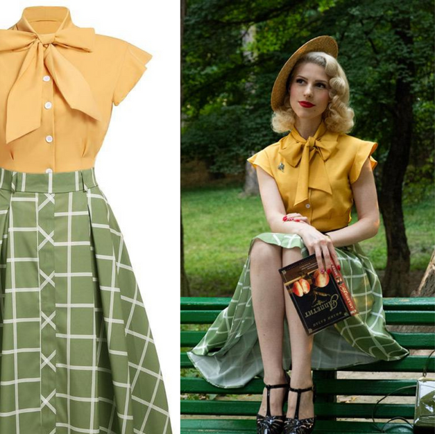 Retro Plaid and Bow 2pc Dress Retro Stag