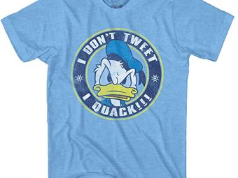"""Disney Donald Duck, """"I Don't Tweet, I Quack"""" Men's Tee"""