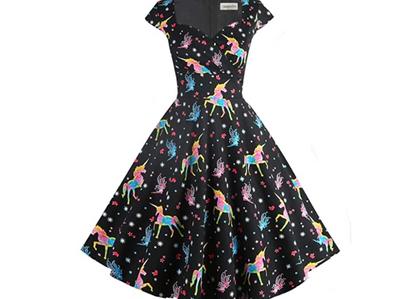 Retro Style Swing Dresses with Pockets - Unicorns