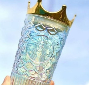 Starbucks' New Glass Tumbler Is Topped With A Beautiful Gold Crown Lid